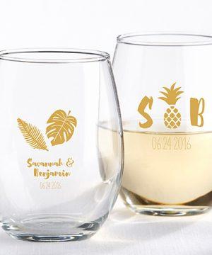 Personalized 9 oz. Stemless Wine Glass - Pineapples & Palms