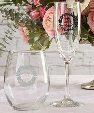 Personalized 9 oz. Stemless Wine Glass - Romantic Garden
