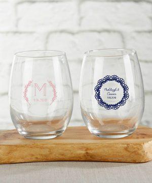 Personalized 9 oz. Stemless Wine Glass - Rustic Charm Wedding