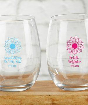 Personalized 9 oz. Stemless Wine Glass - Sunflower