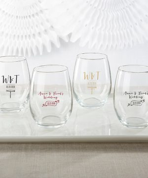Personalized 9 oz. Stemless Wine Glass - Vineyard