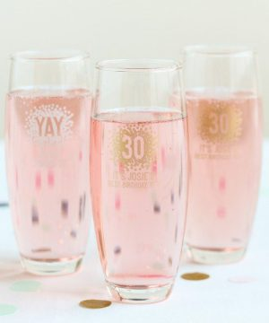 Personalized Birthday Stemless Champagne Flute