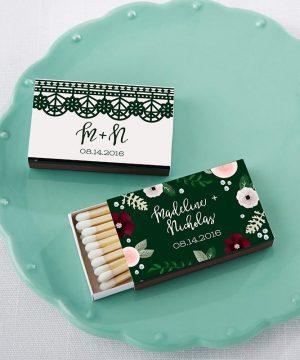 Personalized Black Matchboxes - Romantic Garden (Set of 50)