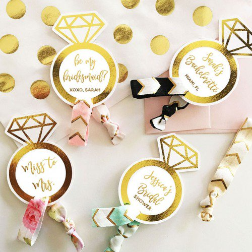 Personalized Bridal Party Hair Ties