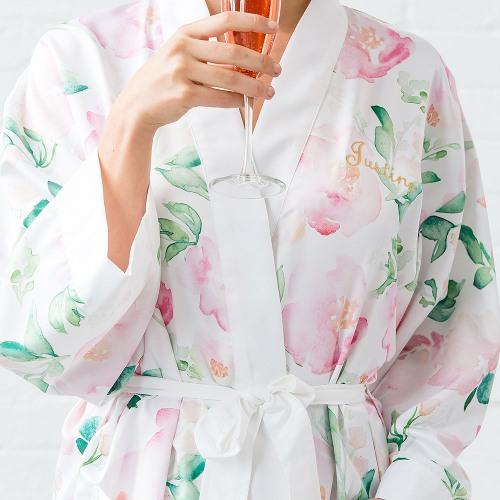 Personalized Floral Silk Kimono Robe