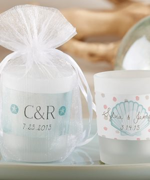 Personalized Frosted Glass Votive - Beach Tides