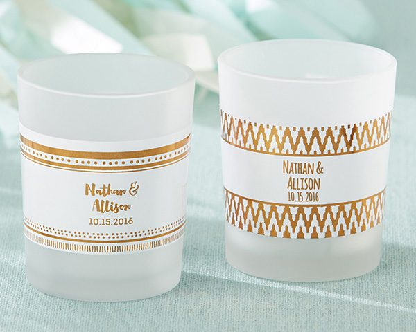 Personalized Frosted Glass Votive - Copper Foil