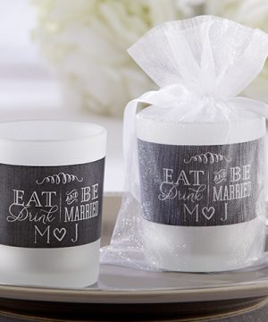 Personalized Frosted Glass Votive - Eat, Drink & Be Married