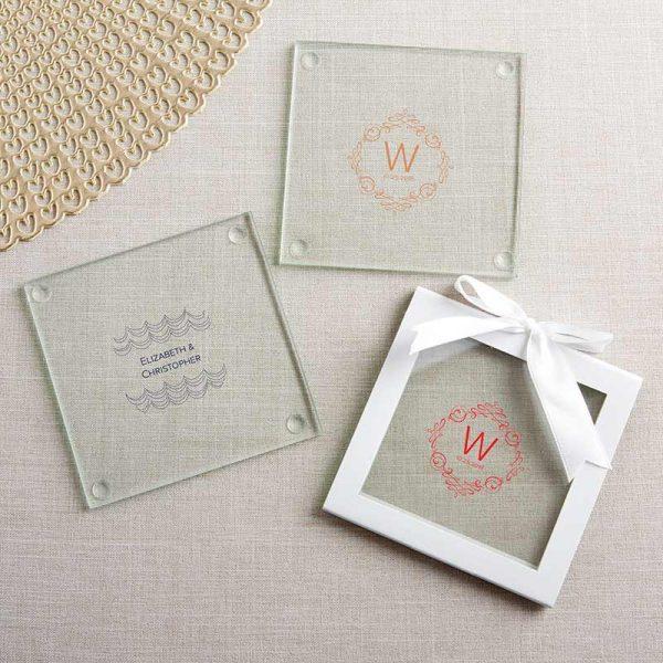 Personalized Glass Coaster - Modern Romance (Set of 12)
