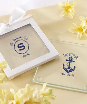 Personalized Glass Coaster - Nautical Bridal Shower (Set of 12)