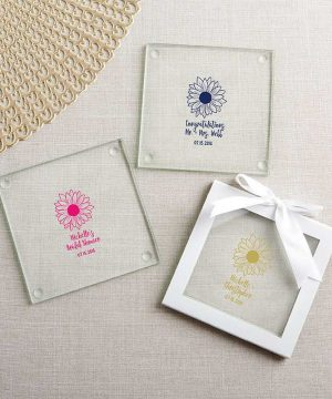 Personalized Glass Coaster - Sunflower (Set of 12)