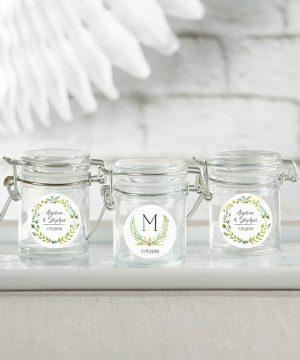 Personalized Glass Favor Jars - Botanical Garden (Set of 12)