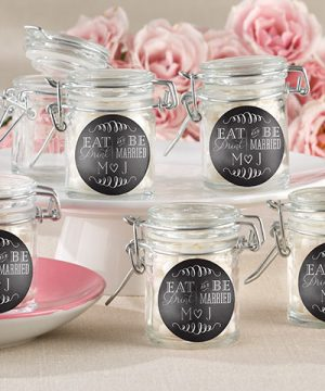 Personalized Glass Favor Jars - Eat, Drink & Be Married (Set of 12)