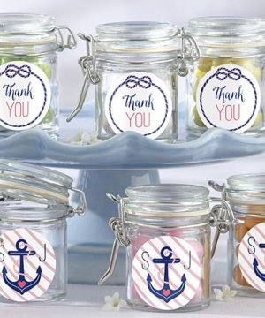 Personalized Glass Favor Jars - Kate's Nautical Bridal Shower Collection (Set of 12)