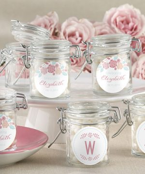 Personalized Glass Favor Jars - Kate's Rustic Bridal Shower Collection (Set of 12)