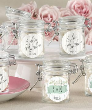 Personalized Glass Favor Jars - Kate's Rustic Wedding Collection (Set of 12)
