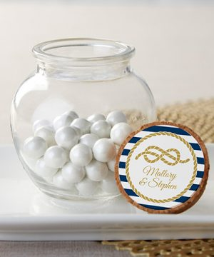 Personalized Glass Sphere Jar - Nautical Wedding (Set of 12)