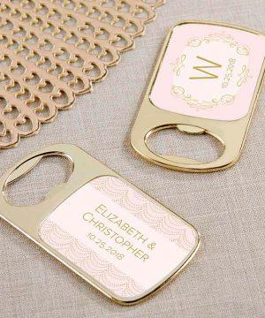 Personalized Gold Bottle Opener - Modern Romance