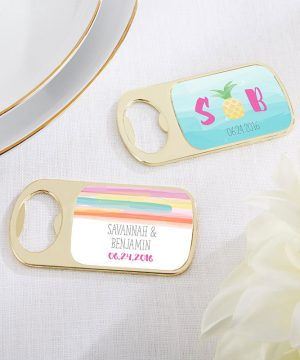 Personalized Gold Bottle Opener - Pineapples & Palms