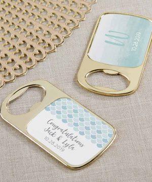 Personalized Gold Bottle Opener - Seaside Escape