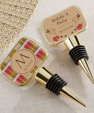 Personalized Gold Bottle Stopper - Fall