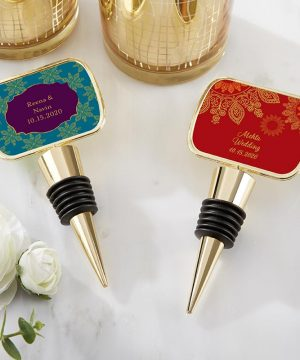 Personalized Gold Bottle Stopper - Indian Jewel