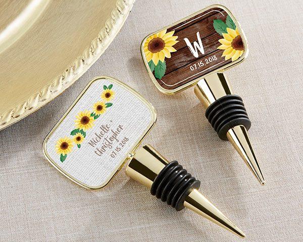 Personalized Gold Bottle Stopper - Sunflower