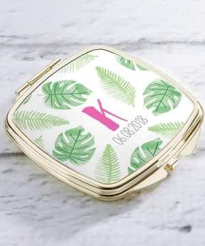 Personalized Gold Compact - Pineapples & Palms