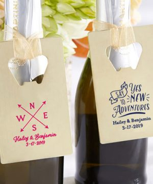 Personalized Gold Credit Card Bottle Opener - Travel & Adventure