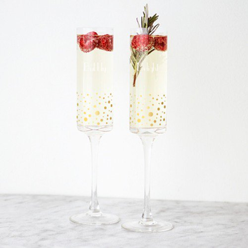 Personalized Gold Dotted Champagne Flutes