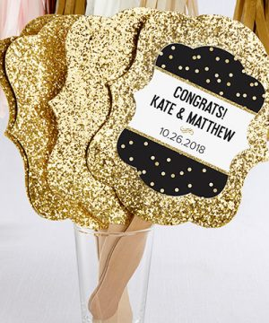 Personalized Gold Glitter Hand Fan - Party Time (Set of 12)