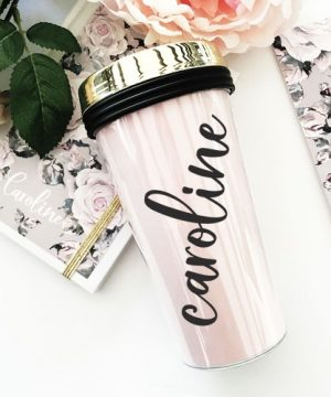 Personalized Gold Lid Travel Tumblers