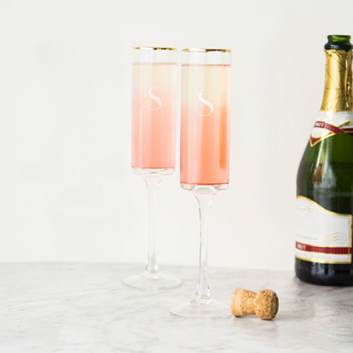 Personalized Gold Rim Contemporary Champagne Flutes