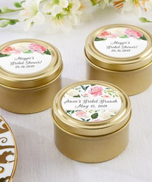 Personalized Gold Round Candy Tin - Bridal Brunch (Set of 12)