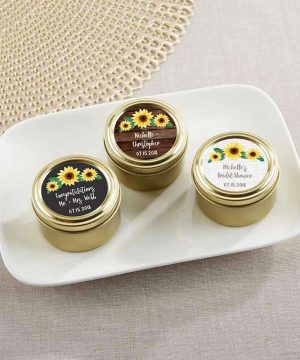 Personalized Gold Round Candy Tin - Sunflower (Set of 12)