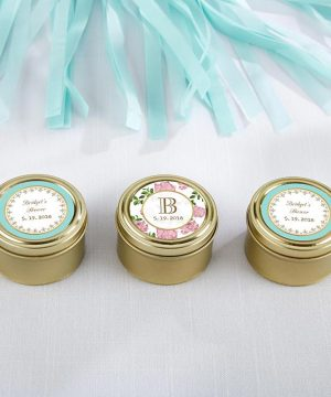 Personalized Gold Round Candy Tin - Tea Time (Set of 12)