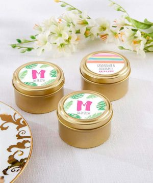 Personalized Gold Round Candy Tins - Pineapples & Palms (Set of 12)