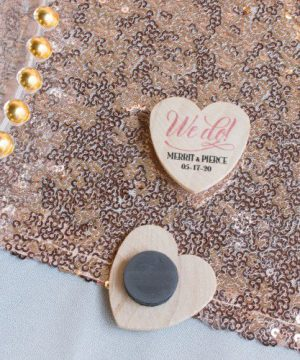 Personalized Heart Shaped Wooden Wedding Magnets