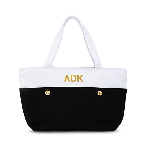 Personalized Large Black and White Canvas Tote
