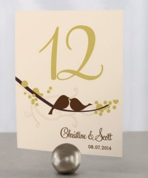 Personalized Love Birds Table Number Cards