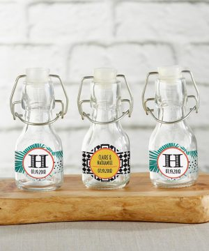 Personalized Mini Glass Favor Bottle with Swing Top - Tropical Chic (Set of 12)