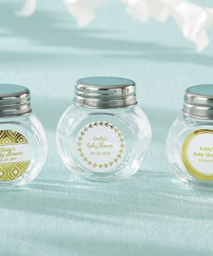 Personalized Mini Glass Favor Jar - Gold Foil (Set of 12)