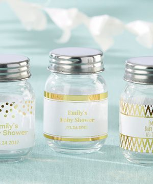 Personalized Mini Mason Jar - Gold Foil (Set of 12)