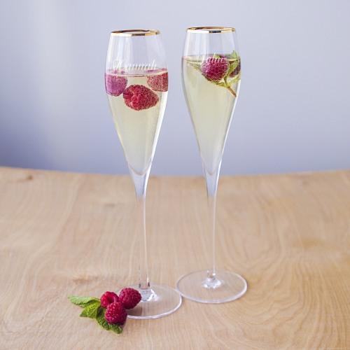 Personalized Rim Champagne Flutes