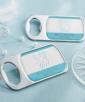 Personalized Silver Bottle Opener - He Asked, She Said Yes
