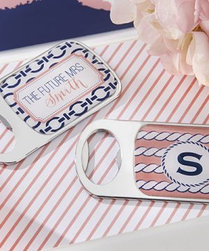 Personalized Silver Bottle Opener - Nautical Bridal Shower
