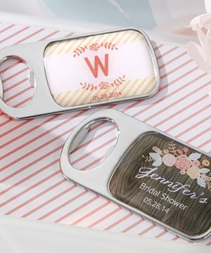 Personalized Silver Bottle Opener - Rustic Bridal Shower