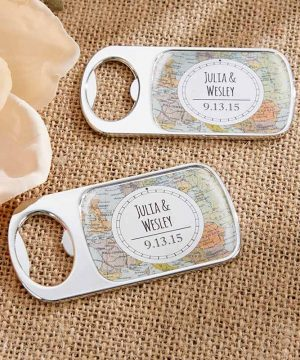 Personalized Silver Bottle Opener - Travel & Adventure