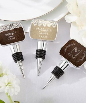 Personalized Silver Bottle Stopper - Rustic Charm Wedding
