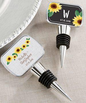 Personalized Silver Bottle Stopper- Sunflower